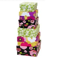 Xonex Floral Nesting Boxes, Nested 6 Assorted Paper-Board Gift Boxes, Largest Box 5-1/4 Inch, Smallest Box 3-1/2 Inch, 1 Set Of 6 Boxes (10728)