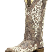 Women's Crater Bone Embroidery Square Toe Boot - Brown