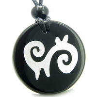 Amulet Supernatural Energy and Spiritual Path Black Agate Pendant Necklace