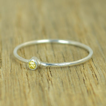 Tiny Sterling Silver Topaz Ring