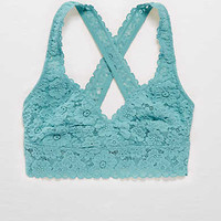 Aerie Lace Cross-Back Bralette , Dusty Olive