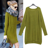 Long Sleeves Knitted Sweater Side Slit Dress With Scarf