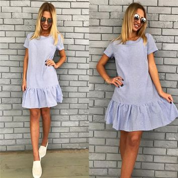 Women's Fashion Short Sleeve Stripes Dress Summer One Piece Dress [498358714414]