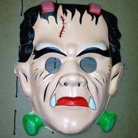 Vintage Universal Monsters Glow in the dark Frankenstein Halloween Mask NM-Mt