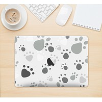 "The Gray & White Large Paw Prints Skin Kit for the 12"" Apple MacBook (A1534)"
