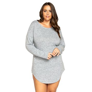 Sexy Get Down Plus Size Gray Loungewear Long Sleeved Top