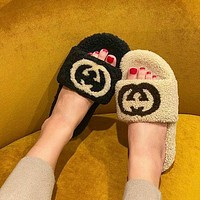 GG Button Double Wool Slippers