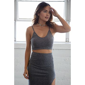 Charcoal Grey Ribbed Crop Top