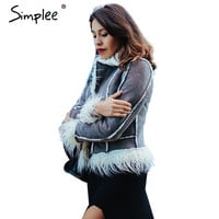 Simplee faux fur coat women fur jacket Long sleeve female outerwears jackets 2016 autumn winter hairy overcoat shearling jacket