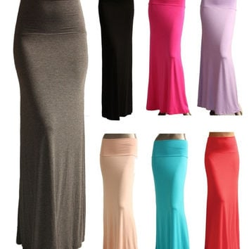 SOLID MAXI SKIRT Long Full Length High waist Fold over S M L XL = 1946687684