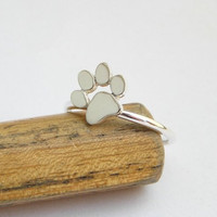 Paw Print Ring - Sterling Silver Cat or Dog Paw Ring