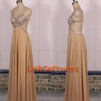 Backless Sexy Prom Dress 2015/Champagne Prom DressLong/Champagne Formal Dress/Champagne Homecoming Dress/Champagne Sexy Evening Dress/Ball
