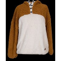 Two Toned Sherpa Mustard and White - Hoodie Pullover - F20 - Simply Southern
