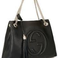 Gucci Soho Medium Black Double Leather Chain Shoulder Bag Tote Black Gold New