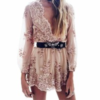 Embroidery Sequins Deep V-Neck Women Overall Rompers