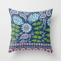 Evening Blue Floral Throw Pillow by Sarah Oelerich
