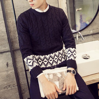 Mens Trendy Waist Pullover Knitted Sweater