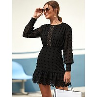 Swiss Dot Guipure Lace Hem Fitted Chiffon Dress