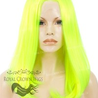 """17 inch Heat Safe Synthetic Lace Front """"Victoria"""" Bob with Straight Texture in Highlighter Yellow/Green"""