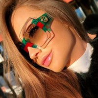 Gucci Fashionable Women Men Personality Stripe Summer Shades Eyeglasses Glasses Sunglasses