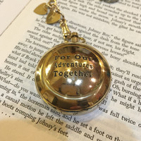 Compass on a Pocket Watch Chain - For Our Adventures Together- Husband Gift. Boyfriend Gift. Significant Other Gift.