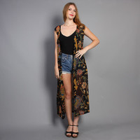 90s EMBROIDERY Print DUSTER / Sheer Floral Maxi Long Vest