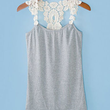 Floral Crochet Strap Racer Back Casual Tank Top