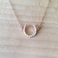 Rose Gold Horse Shoe crystal pave necklace