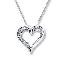 Diamond Heart Necklace 1/5 ct tw Round-cut Sterling Silver