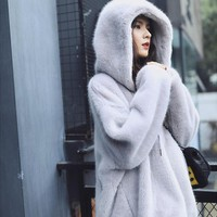 Winter Faux Fur Jacket women Warm Velvet Hooded Hoodies Cap Hoody Outwear loose fur coat