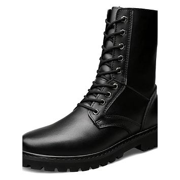 Men's Leather Shoes Cowhide Winter Sporty / Casual Boots Walking Shoes Warm Mid-Calf Boots Black / Outdoor / Snow Boots