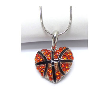 Crystal Accented Puffy Heart Basketball Pendant Necklace