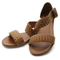 Ollio Women's Shoe Braided Side Buckle Accent Multi Color Flat Sandal(7 B(M) US, Brown)