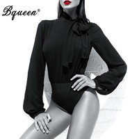 Bqueen 2017 New Sheer Chiffon High Neck With Pussybow Tie Bandage Bodysuit Black Long Sleeve Autumn Bodysuits