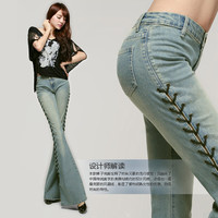 Free Shipping 2016 New Fashion Long Spring And Summer Bell-bottom Jeans Boot Cut Women Slim Long Trousers Lacing Up Flare Pants