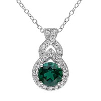 Lab-Created Emerald & Lab-Created White Sapphire Sterling Silver Twist Pendant Necklace (Green)