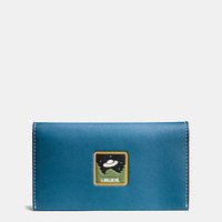 Phone Wallet in Glovetanned Leather With Ufo Believe