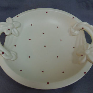 """Beswick England, Shallow Bowl with flower handles, Red Polka Dots, 12"""" dia"""