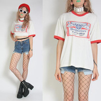 70s 80s Budweiser Ringer Tee - Vintage Budweiser Shirt - Ringer T-Shirt - Beer Shirt Party - Soft and Thin - Paper Thin