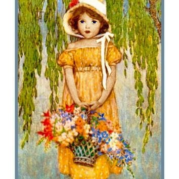 Young Girl Dressed in Yellow with Flower Basket By Jessie Willcox Smith Counted Cross Stitch Pattern