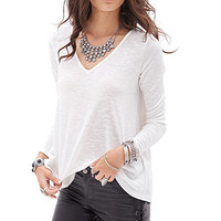FOREVER 21 Slub Knit V-Neck Sweater