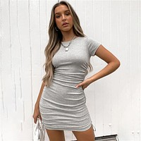 Ruched Drawstring Bodycon Dress Women Sexy Short Sleeve Club Party Dress Ladies Solid Skinny Elegant Dress