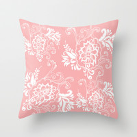 lovely light pink floral pattern Throw Pillow by PatternWorld