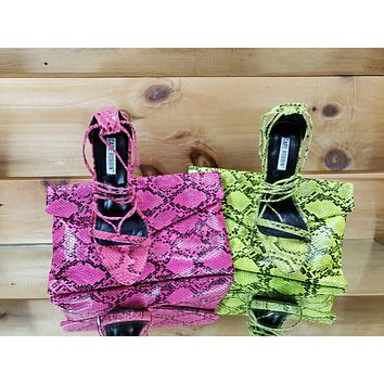 """Invader Neon Pink Snake Strappy Ankle Wrap Sandal 5"""" High Heel Matching Clutch"""