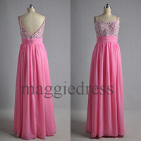 Custom Pink Beaded Long Prom Dresses Evening Gowns Formal Party Dress Bridesmaid Dresses 2014 Formal Wear Cocktail Dresess Formal Wear