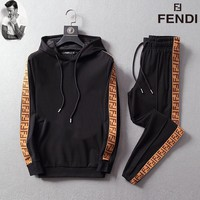 2019 Fendi Men and Women Fashion Leisure Tracksuit Two Piece Suit Set