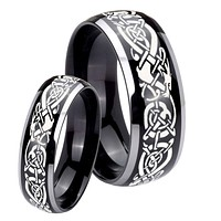 His Hers Celtic Knot Dragon Dome Glossy Black 2 Tone Tungsten Mens Ring Set