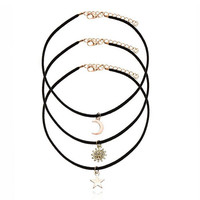 3 Pcs Sets Punk Black Velvet Stripe Star Moon Sun Pendant Choker Necklace