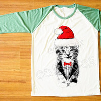 Merry Christmas TShirt Wink Cat T-Shirt Cat Suit&Tie Shirt Animal Shirt Green Sleeve Women T-Shirt Men T-Shirt Unisex Tee Baseball Tee S,M,L