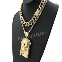 Hip Hop Quavo Jesus Face Miami Cuban Choker Tennis Chain Necklace L16
